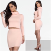 2 Piece Rollneck Crop Top Midi Skirt Set Rose