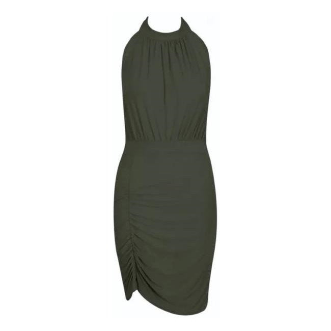 Ruched Backless Halterneck Draped Dress Khaki Green