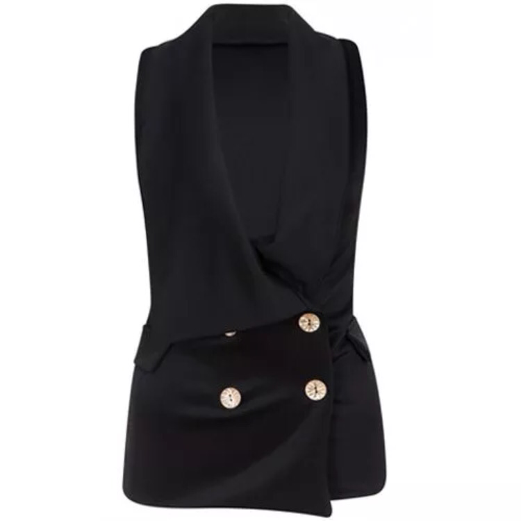 Double Breasted Tuxedo Blazer Look Button Plunge Top