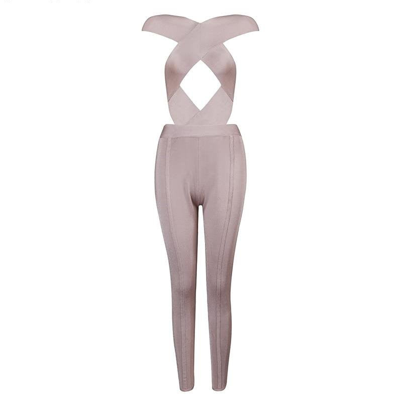 Bandage Jumpsuit Crossover Nude Pink