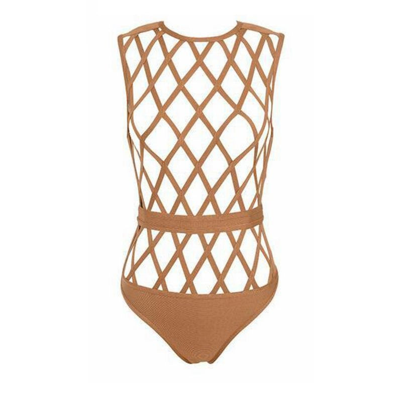 Caged Bandage Cut Out Bodysuit Nude