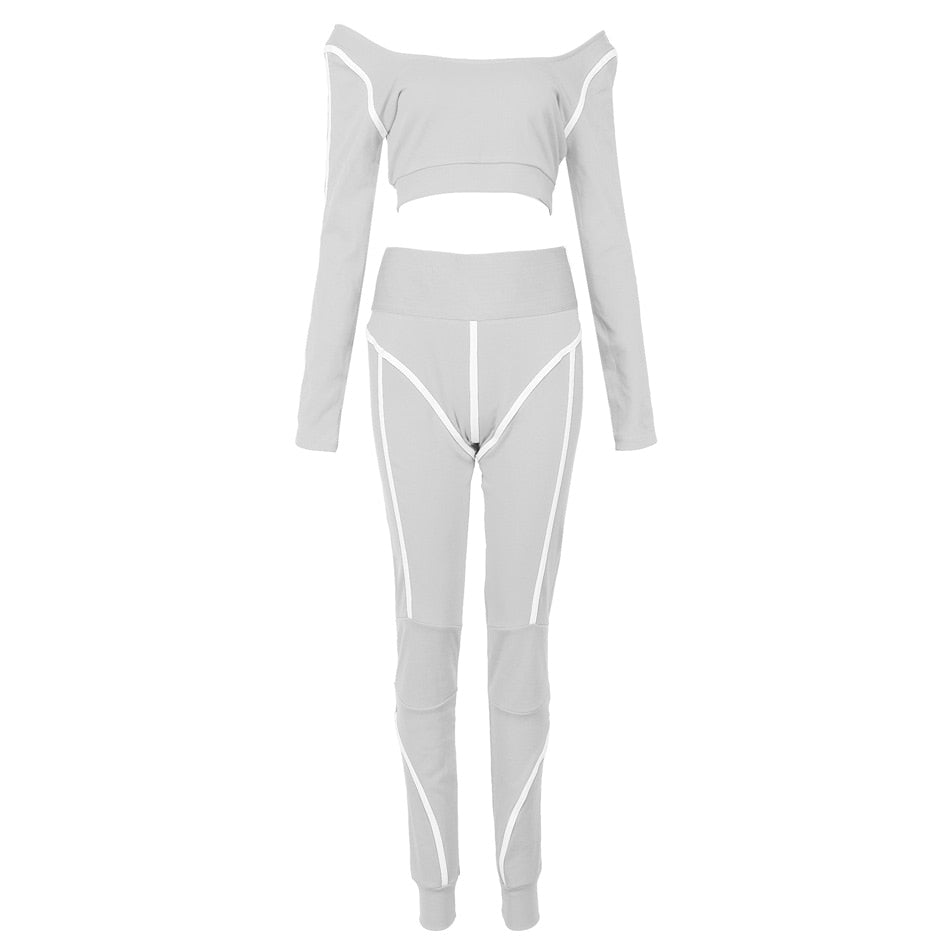 Reflective Athleisure Crop Set Grey