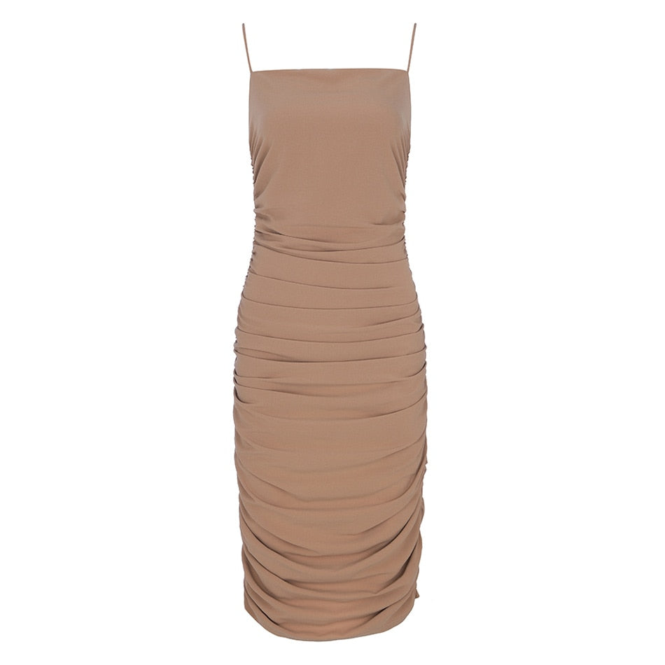 Ruched Midi Dress Nude