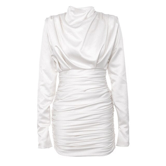 Ruched Satin Long Sleeve Highneck Dress White