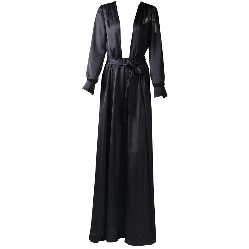 Plunge Satin Slit Wrap Kimono Maxi Dress Gown Black (Pre-Order)