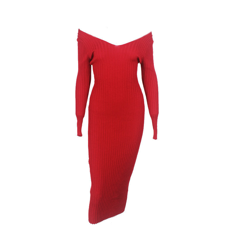 Ribbed Off Shoulder Maxi Dress Red