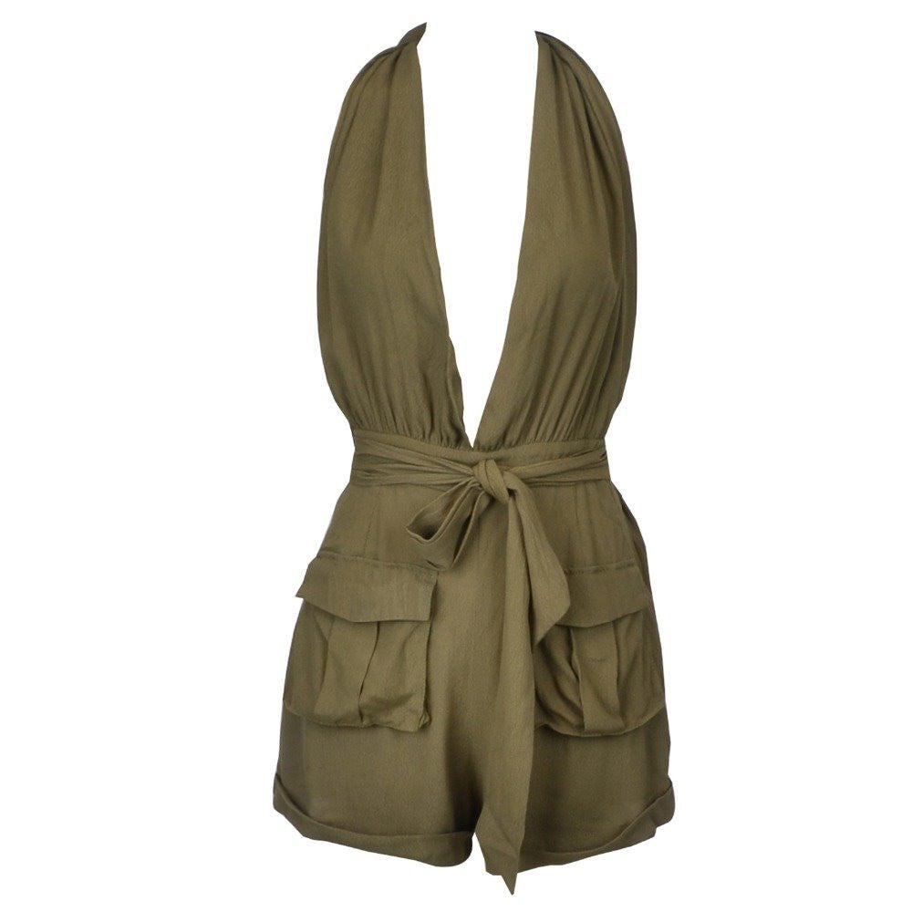 Strap Up Cargo Jumpsuit Army Green