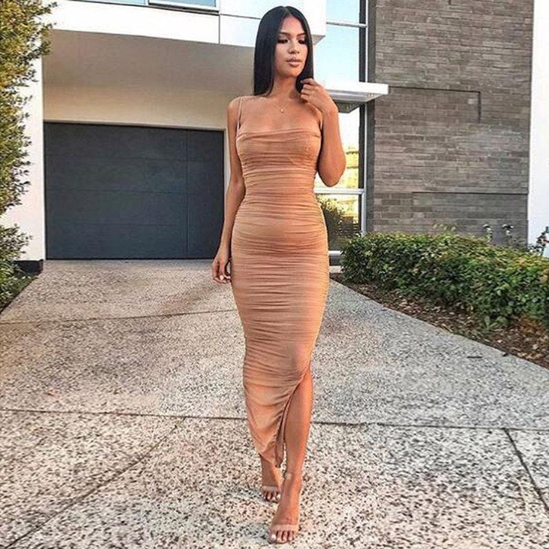 Lace Pleated Bodycon Maxi Mesh Dress Nude Pink