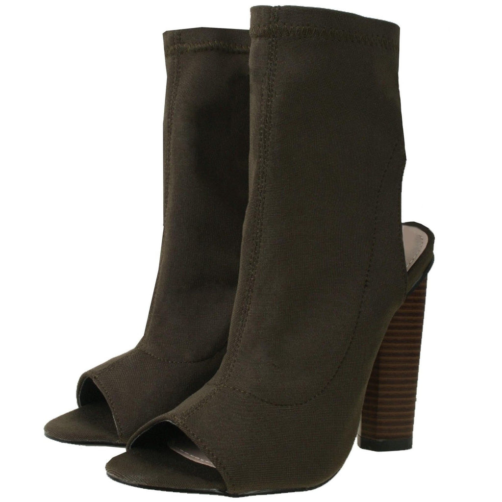 Knitted Peep Toe Ankle Boots Khaki Green