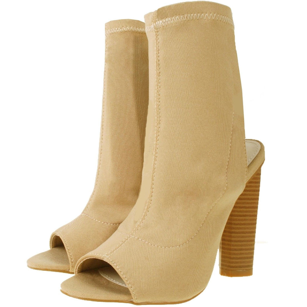 Knitted Peep Toe Ankle Boots Nude Beige