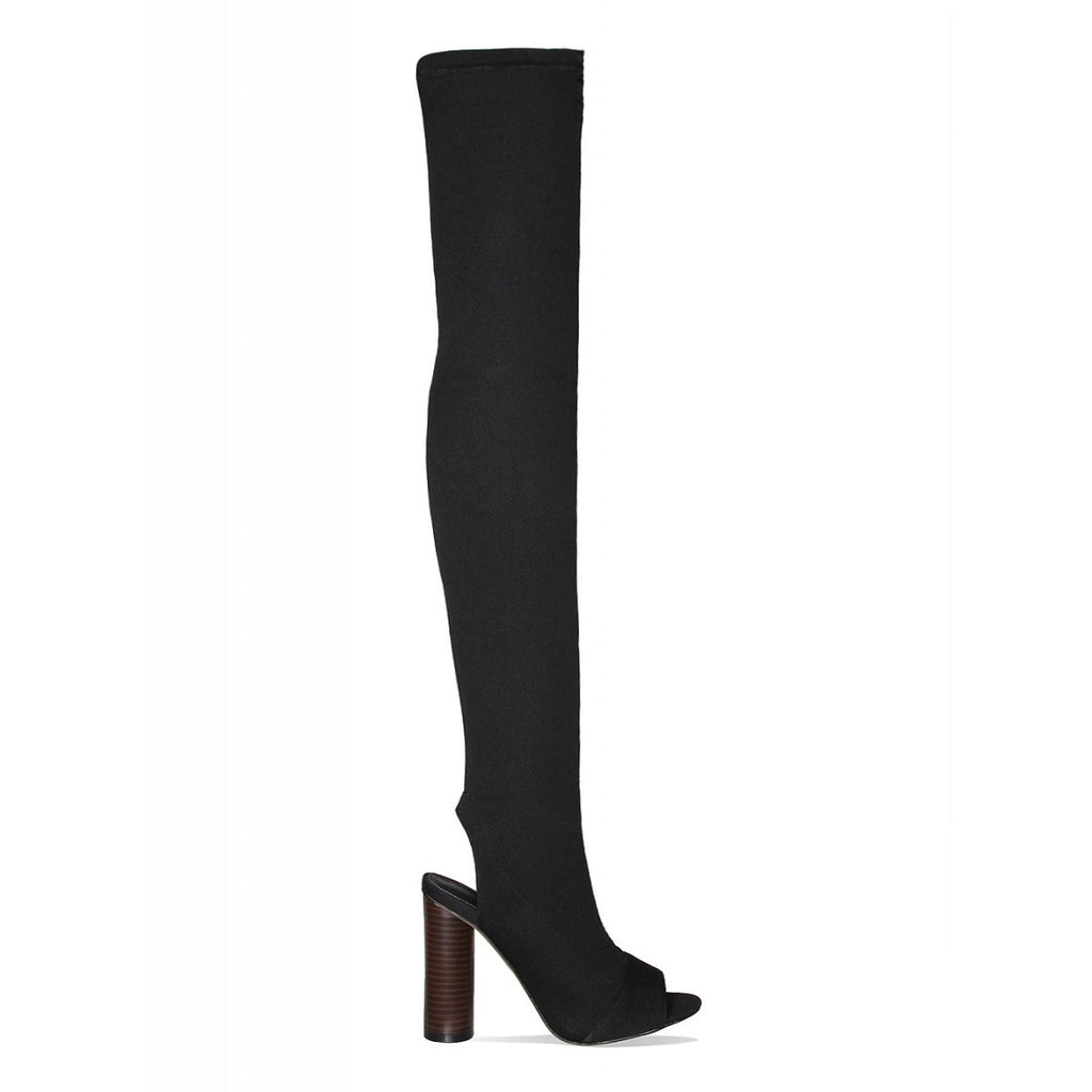 Knitted Peep Toe Thigh High Boots Black