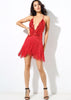 Lace Sequin Appliqué Plunge Frill Dress Red