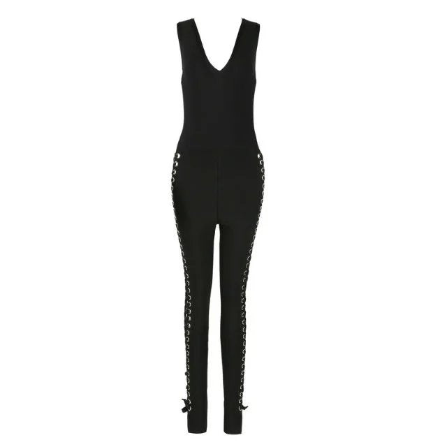 Lace Up Bandage Jumpsuit Black