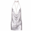 Metal Mesh Sequin Chain Choker Dress Silver