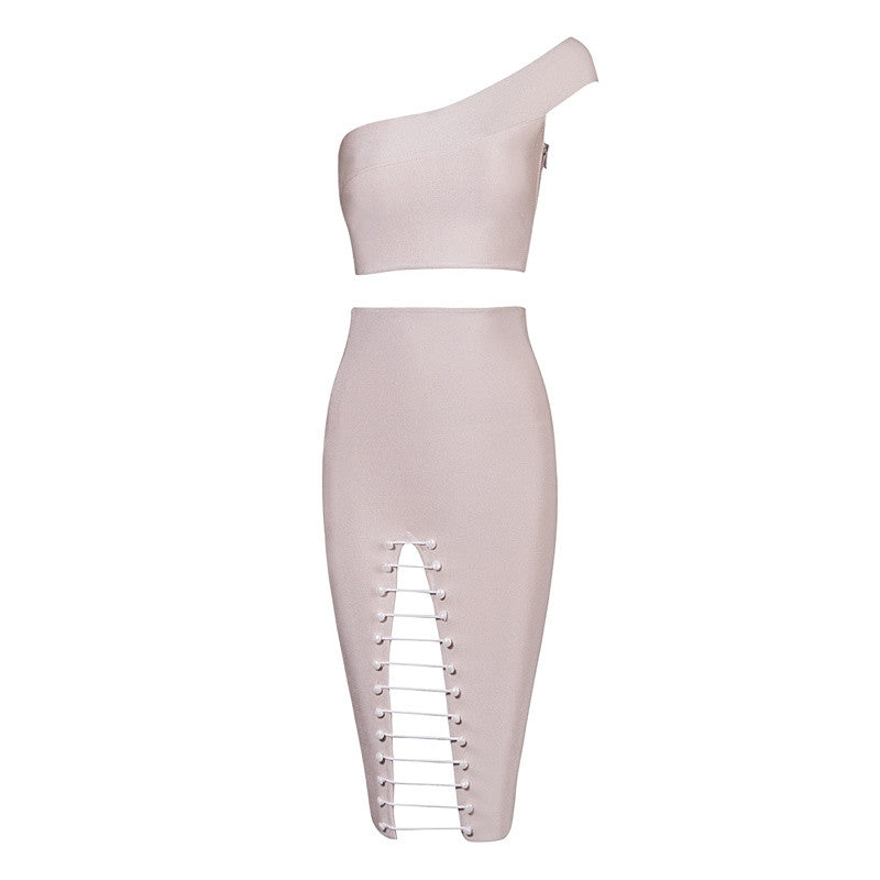 One Shoulder Bandage Chain Skirt Co-Ord Set Nude Pink
