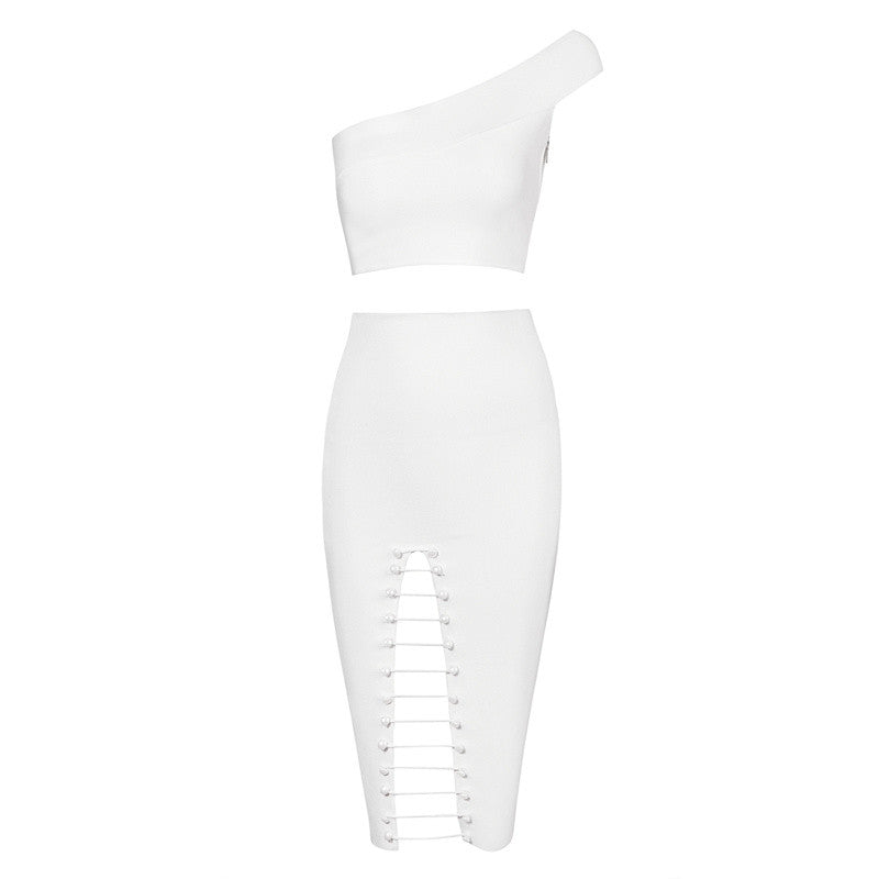 One Shoulder Bandage Chain Skirt Co-Ord Set White