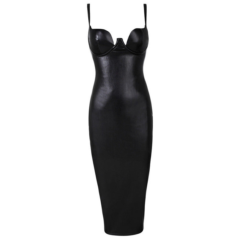 PVC Bustier Midi Dress Black