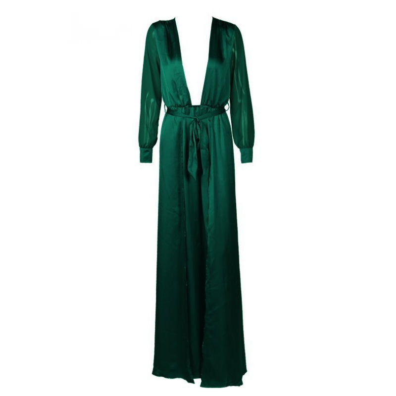 Plunge Satin Slit Wrap Kimono Maxi Dress Gown Green (Pre-Order)
