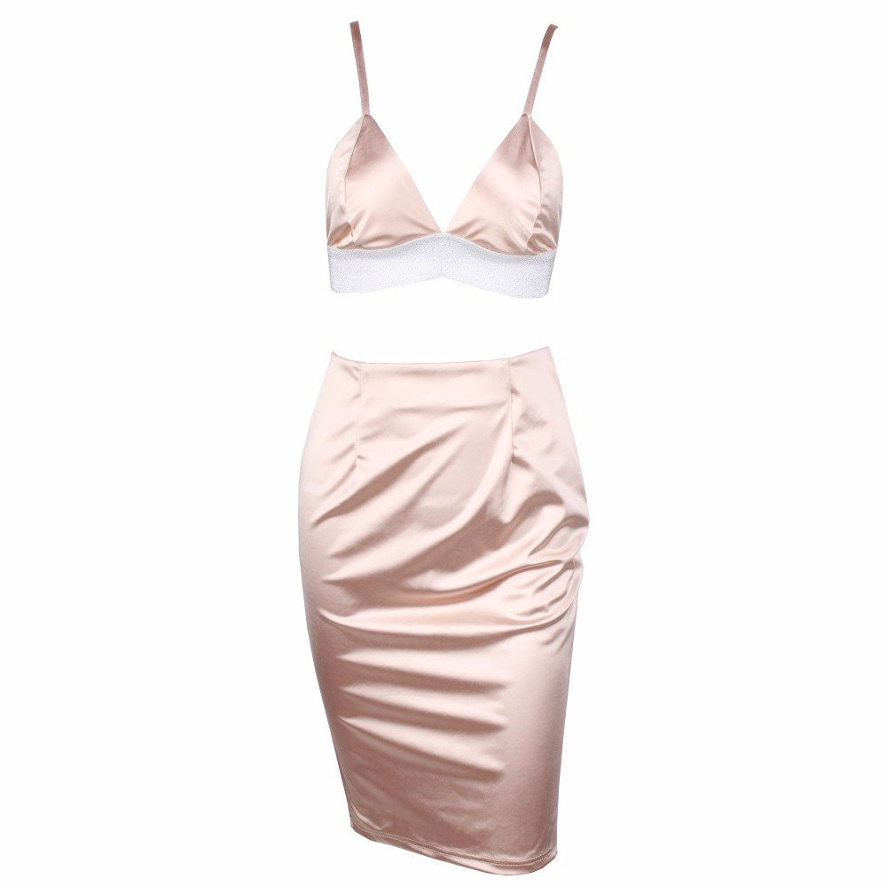 Rhinestone Bralet Satin Skirt Set Two Piece Dress Pink