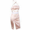 Rhinestone Strap Bandeau Top Satin Slit Skirt Set Two Piece Dress Pink
