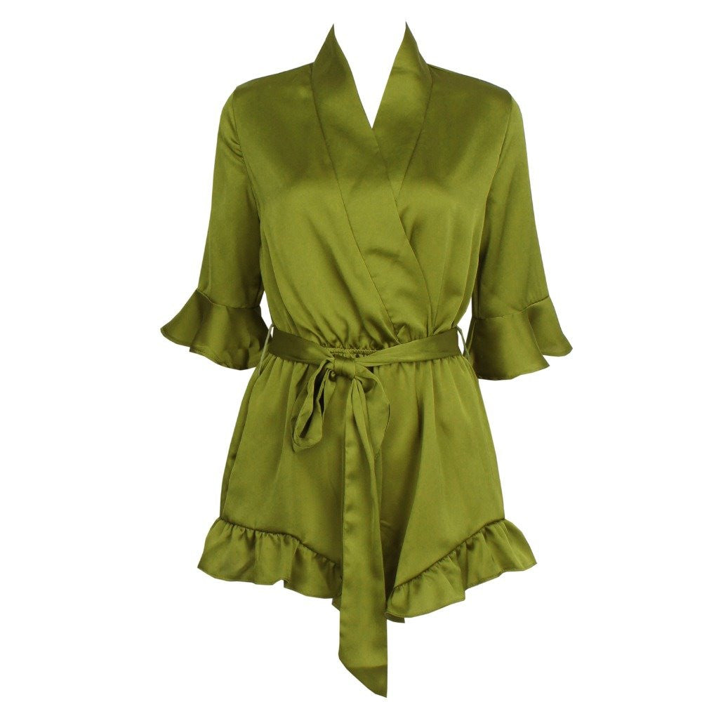 Satin Frill Jumpsuit Green