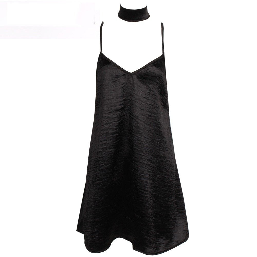 Satin Slip Choker Dress Black