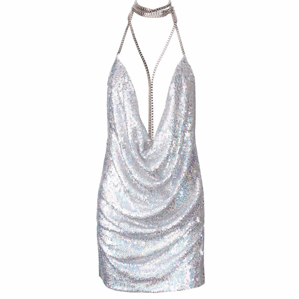Sequin Chain Choker Dress Silver