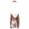 Sequin Chain Choker Dress Rose Gold