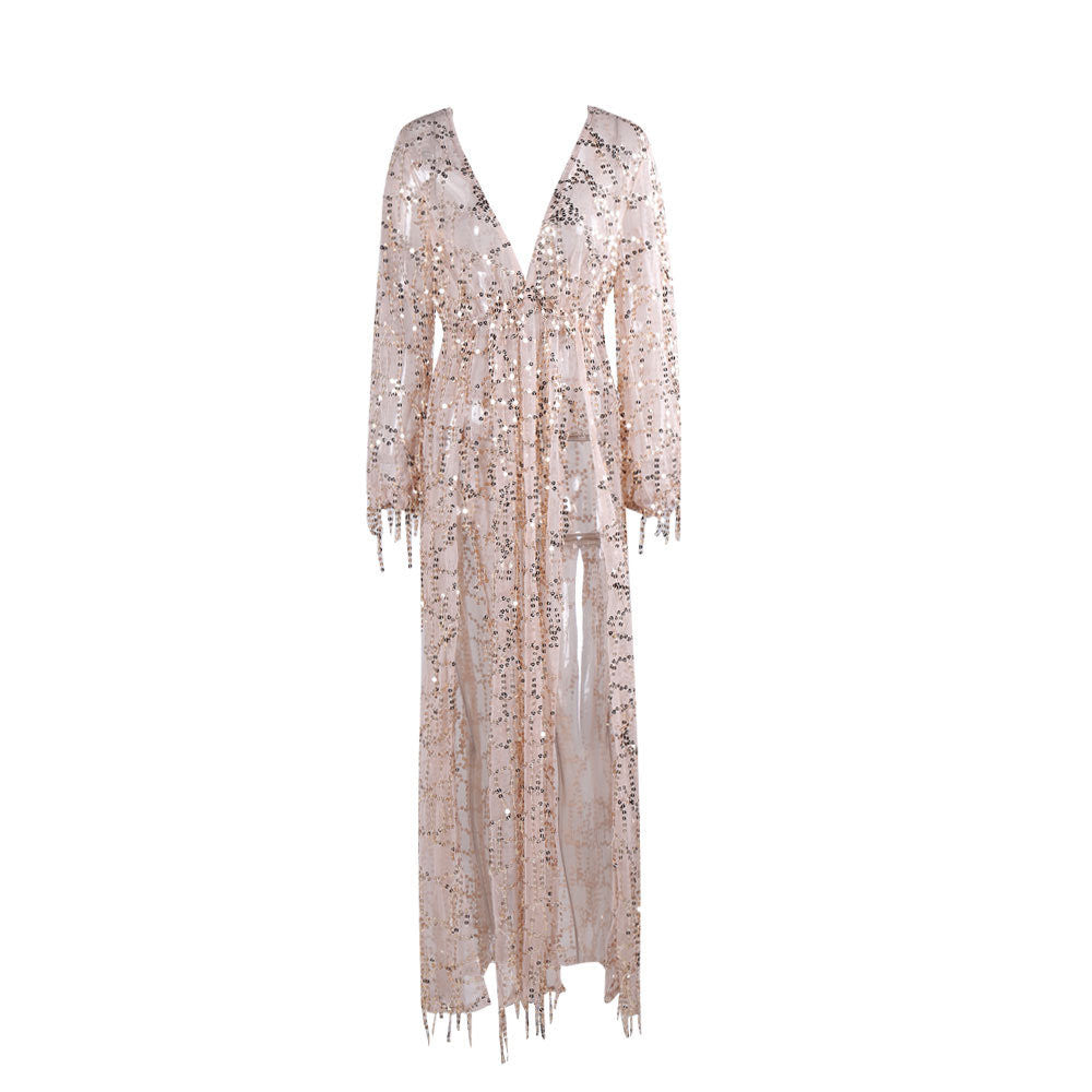 Sequin Glitter Slit Plunge Dress Cover Up Gold