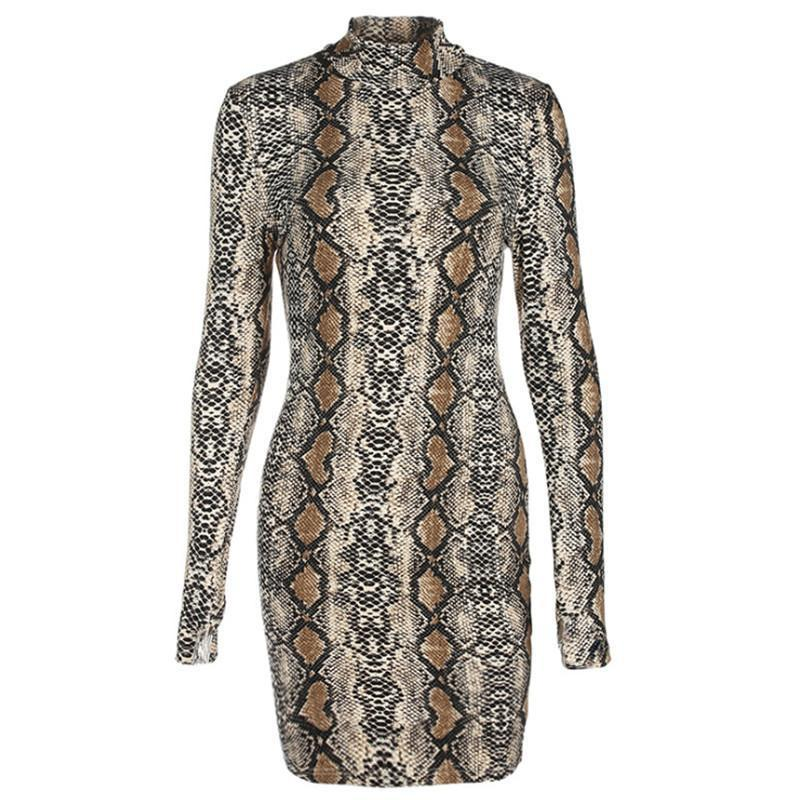 Stretch Snakeskin Long Sleeve Mini Dress
