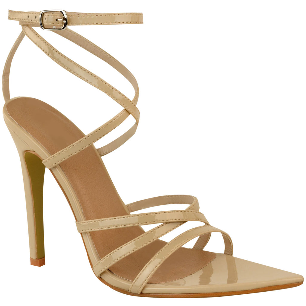 Barely There Pointed Strappy Patent High Heel Sandals Nude