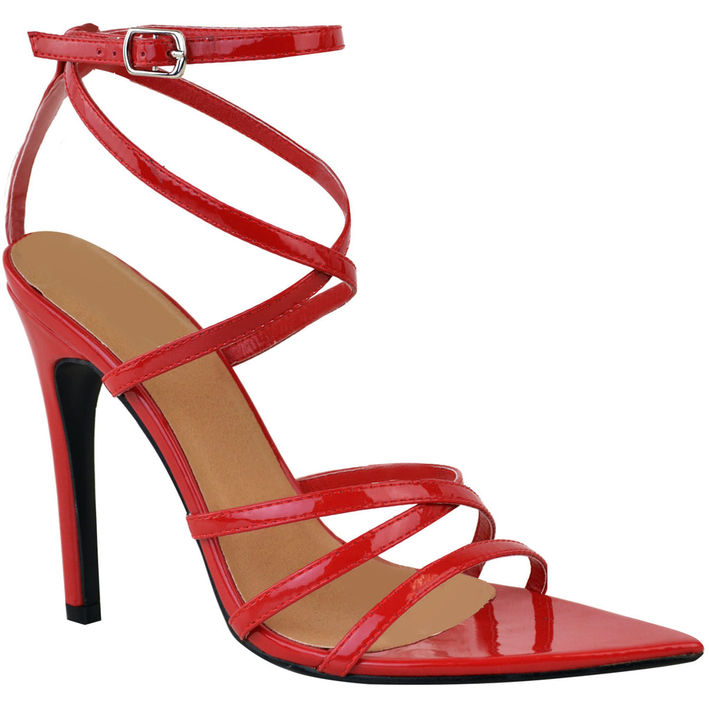 Barely There Pointed Strappy Patent High Heel Sandals Red