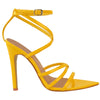 Barely There Pointed Strappy Patent High Heel Sandals Yellow