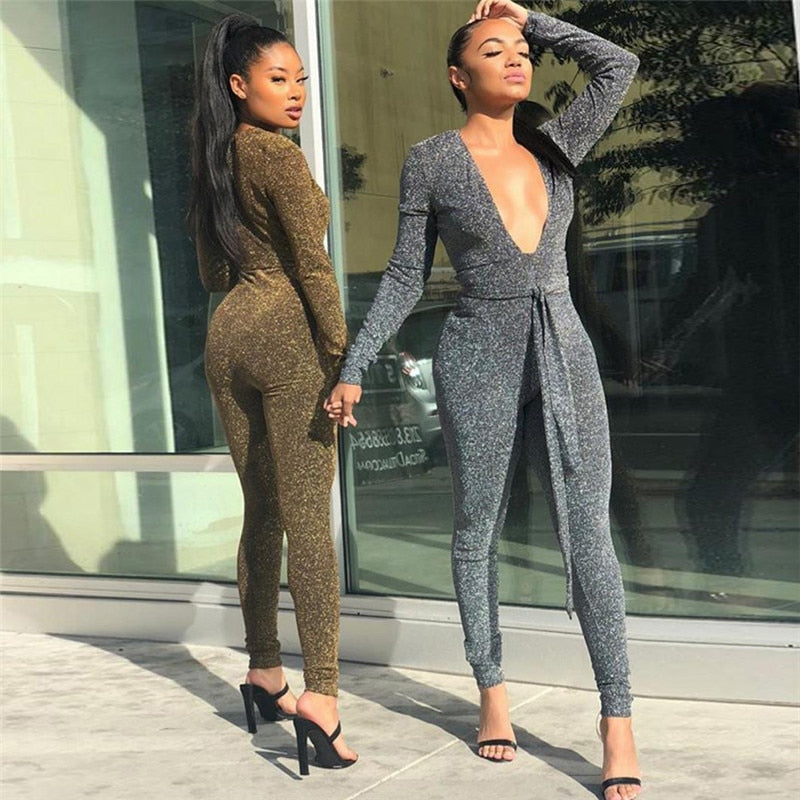 Deep V-Neck Bandage Long Sleeves Glitter Romper Jumpsuit
