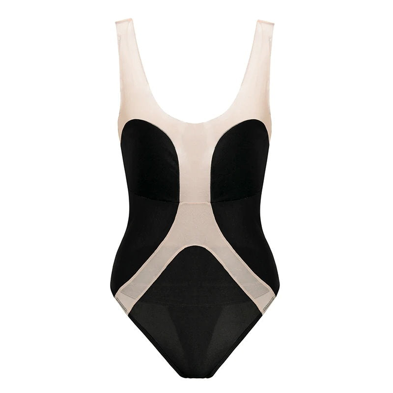 Transparent Mesh Swimsuit One Piece Black