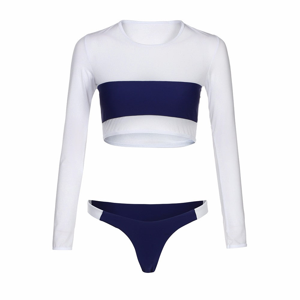 Two Piece Mesh Long Sleeves Brazilian Bikini Monokini Swimsuit Set White Blue