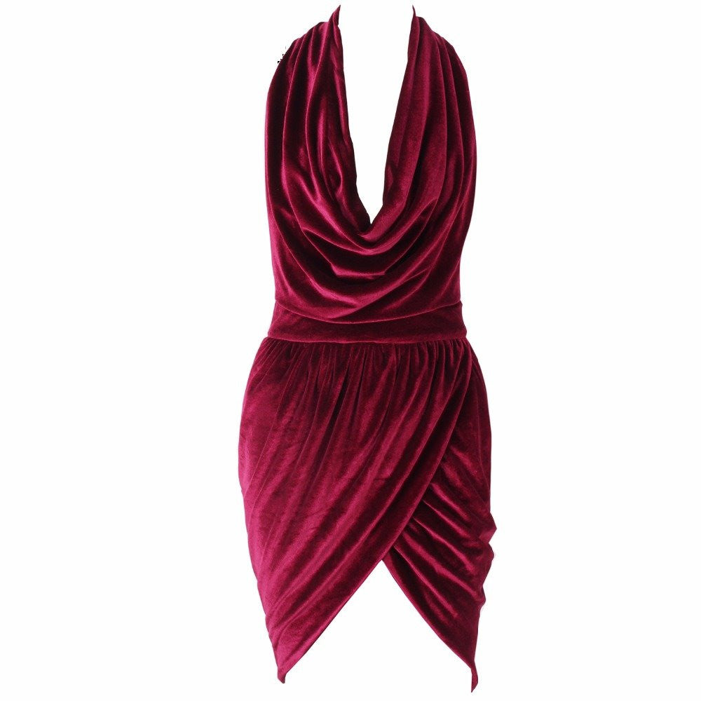 ae2e9afecf Drape Plunge Halterneck V-Neck Velvet Dress Burgundy Red