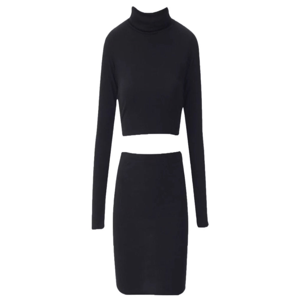 2 Piece Rollneck Crop Top Midi Skirt Set Black