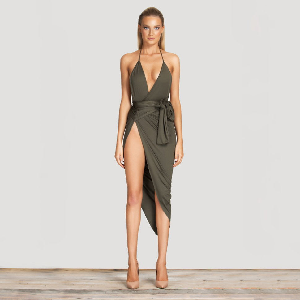Halterneck Plunge Cleavage Leg Split Midi Dress Khaki