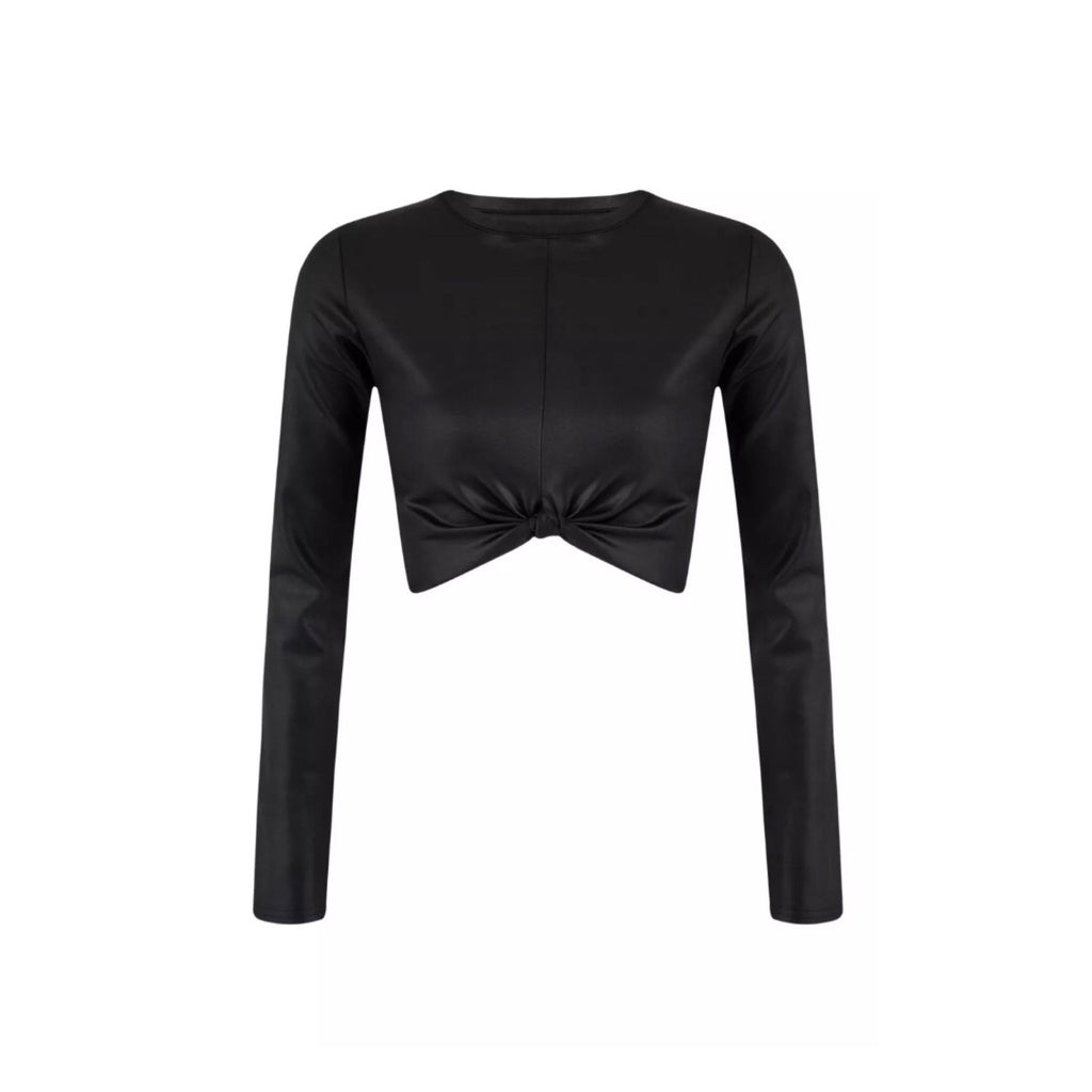 Knot Leather Look Longsleeve Crop Top