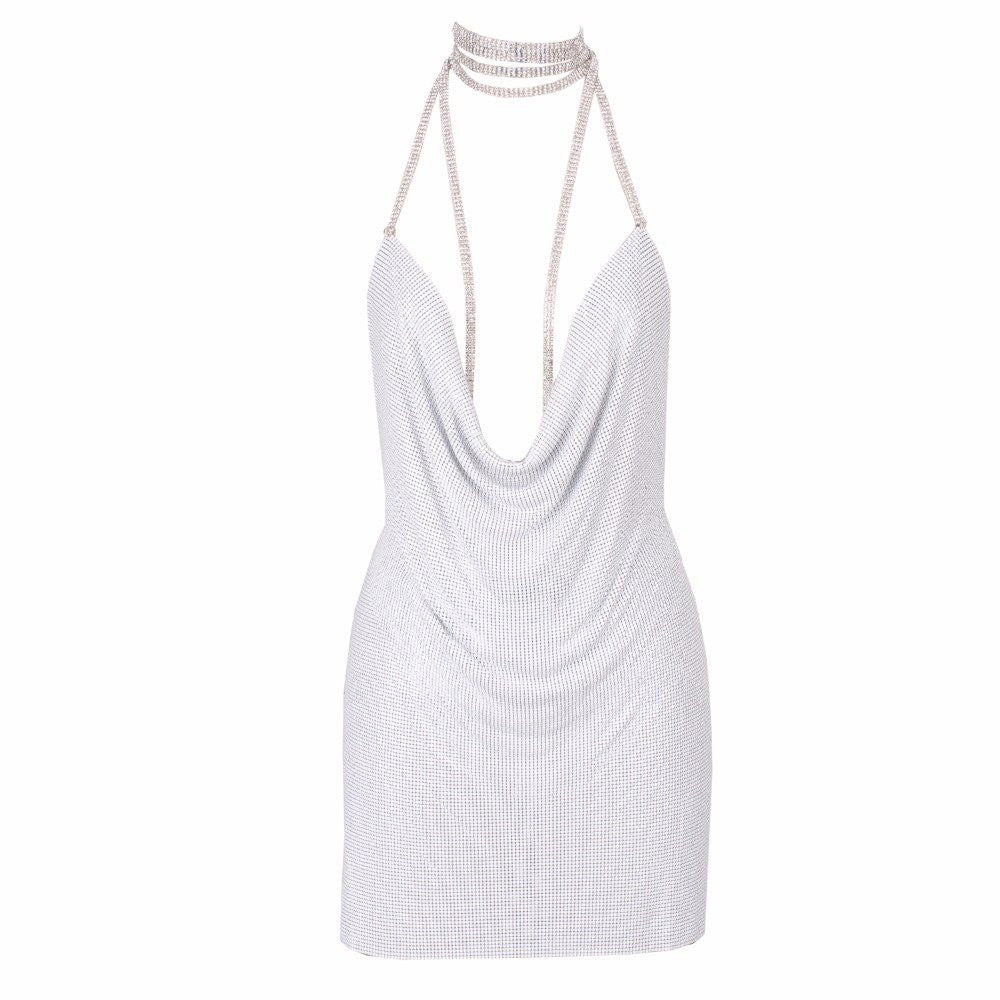 Metal Mesh Sequin Chain Choker Dress White