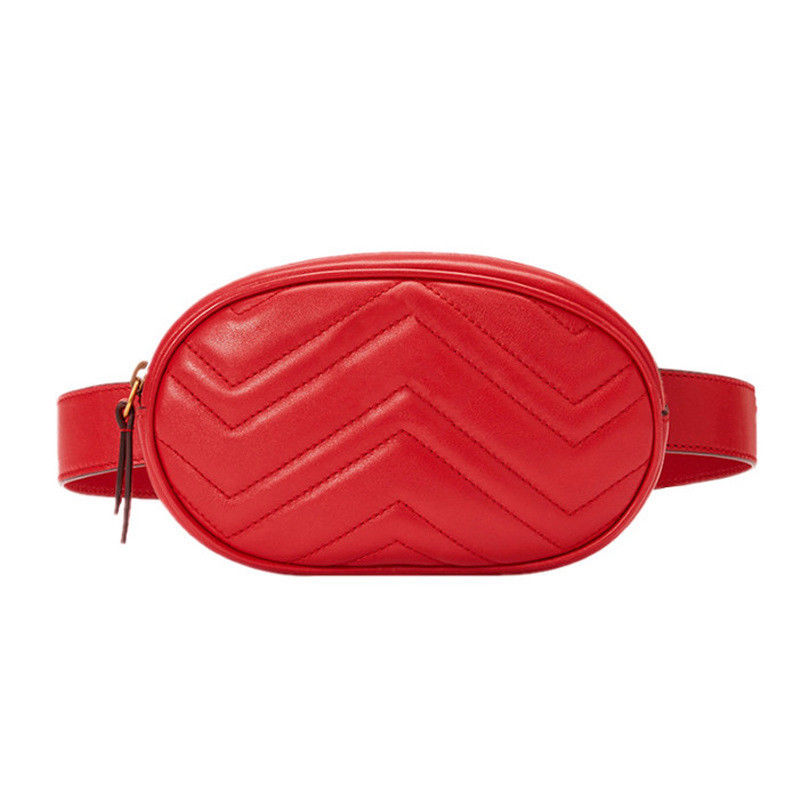 Waist Fanny Pack Bum Bag Pouch Vegan Leather Red