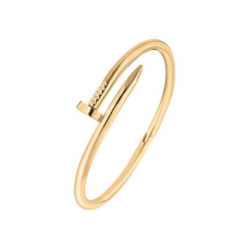 Designer Inspired Yellow Gold Screw Nail Bracelet Clasp Bangle