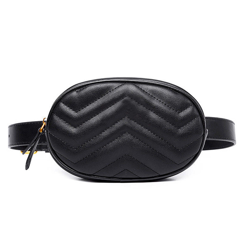 Waist Fanny Pack Bum Bag Pouch Vegan Leather Black