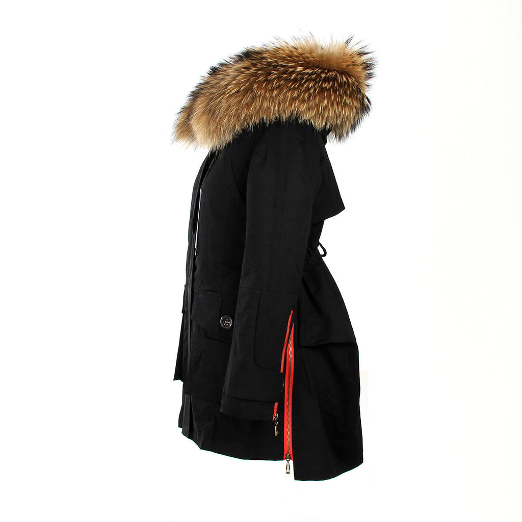 XXL Real Fox Fur Hooded Parka Coat