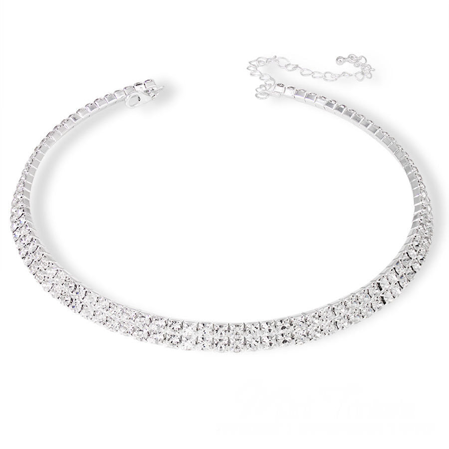 Rhinestone Diamante Crystal Choker Necklace 2 Rows