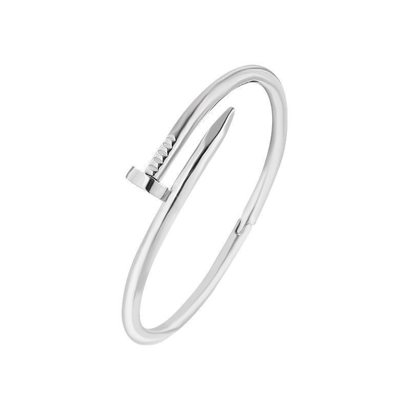 Designer Inspired Silver Screw Nail Bracelet Clasp Bangle