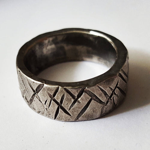 Stainless Steel Ring, Cross Hatch Pattern