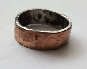 Rustic Bronze and Stainless Steel Mixed Metal Ring