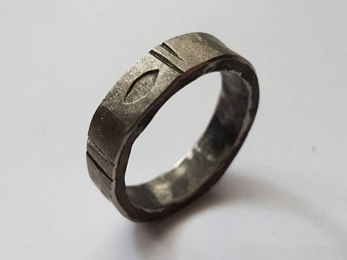 Stainless Steel ring, Chiseled Eye Pattern